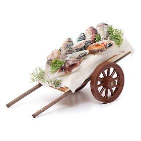 Neapolitan Nativity accessory, fishmonger's cart in wax 5x11x5cm s1