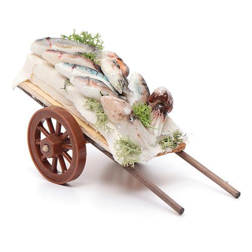 Neapolitan Nativity accessory, fishmonger's cart in wax 5x11x5cm 2