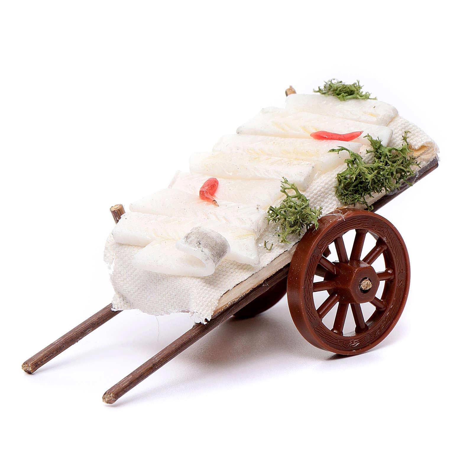 Neapolitan Nativity accessory, fish cart in wax 5x11x5cm 4