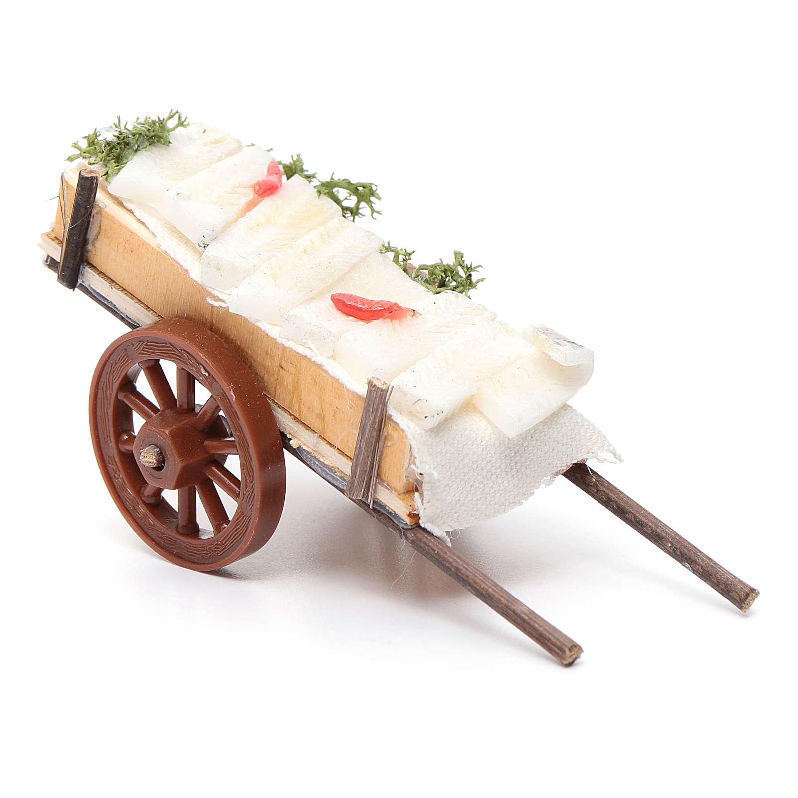 Carro presepe napoletano pesce cera 5x11x5 cm 4