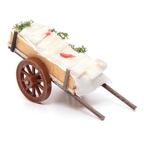 Neapolitan Nativity accessory, fish cart in wax 5x11x5cm 2
