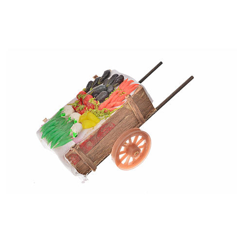 Neapolitan Nativity accessory, vegetable cart in wax 5x11x5cm 2