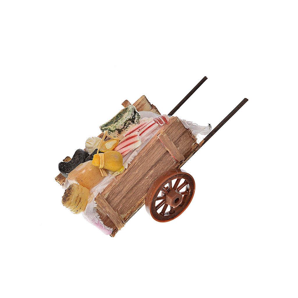Neapolitan Nativity accessory, ham and cheese cart in wax 5x11x5 4