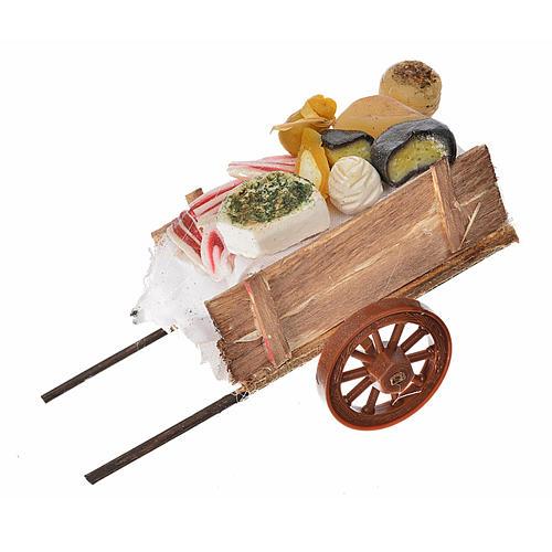 Neapolitan Nativity accessory, ham and cheese cart in wax 5x11x5 1