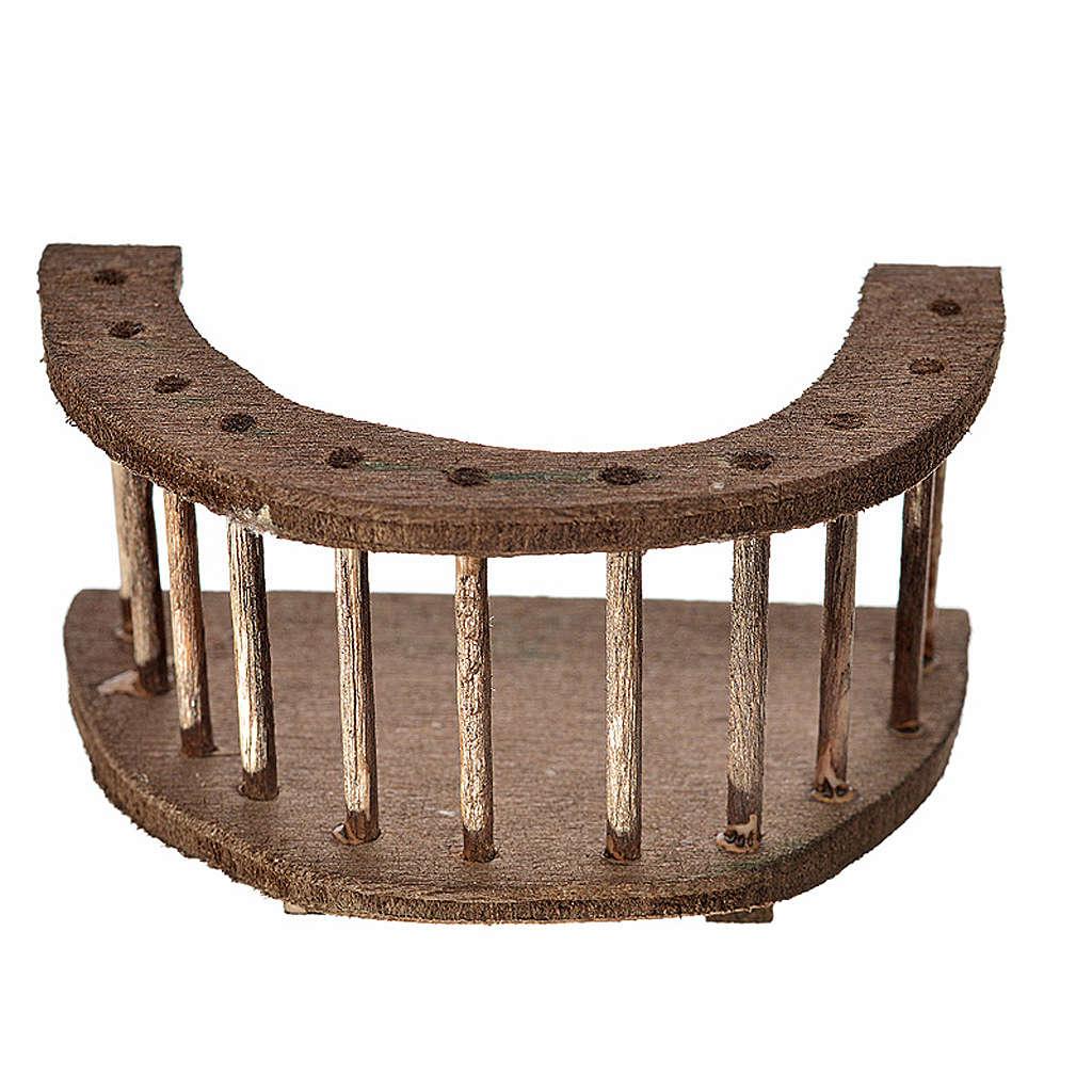 Nativity accessory, round wooden balcony 4x7x4 cm 4