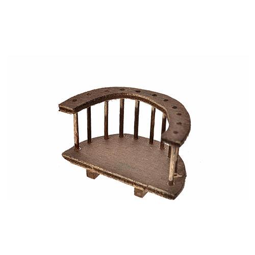 Nativity accessory, round wooden balcony 4x7x4 cm 2