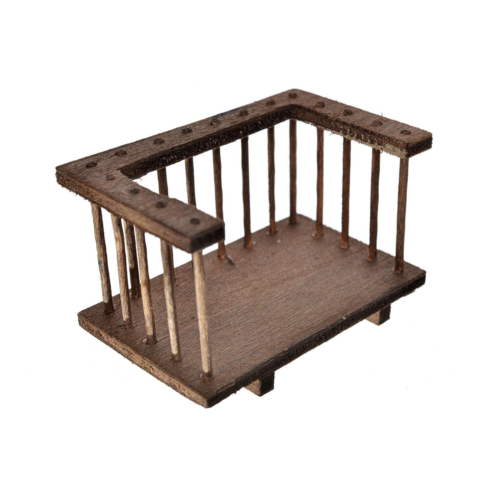Nativity accessory, wooden balcony 7x3.5x4cm 4