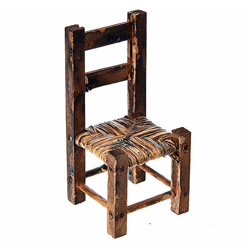 Nativity accessory, wooden and straw chair 5.5x2.5x2.5cm 1