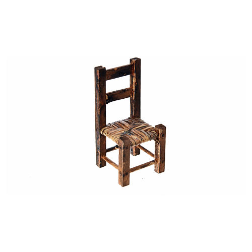 Silla empajada en madera para belén 5.5x2.5x2.5 3