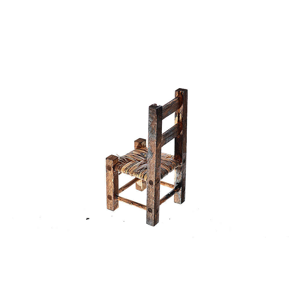 Nativity accessory, wooden and straw chair 5.5x2.5x2.5cm 4
