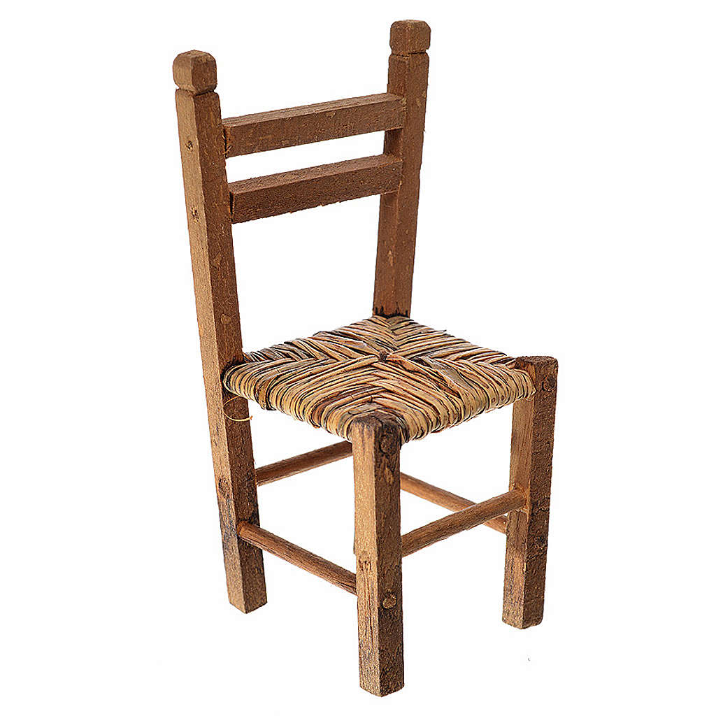 Sedia impagliata in legno presepe 9,5x4x4 cm 4