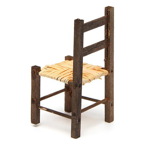 Sedia impagliata in legno presepe 9,5x4x4 cm 2