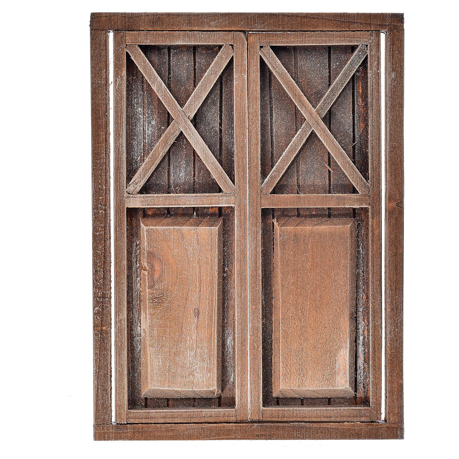 Nativity accessory, wooden double door, 17.5x12.5cm 4
