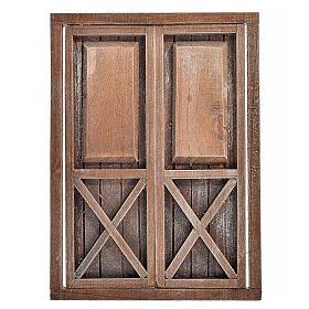 Nativity accessory, wooden double door, 17.5x12.5cm s1