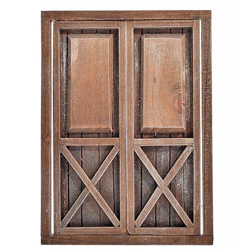 Nativity accessory, wooden double door, 17.5x12.5cm 1