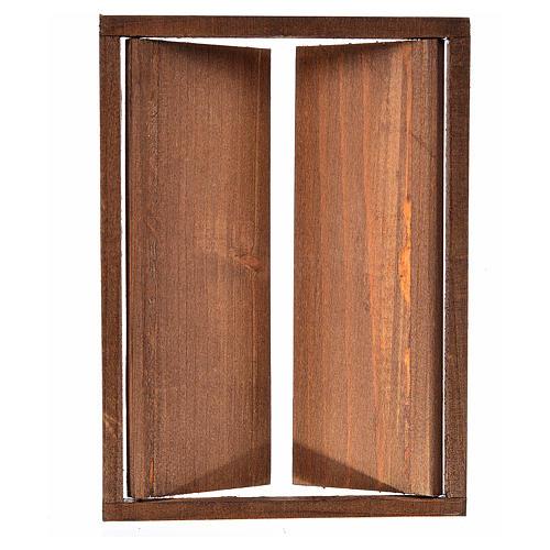 Nativity accessory, wooden double door, 17.5x12.5cm 2