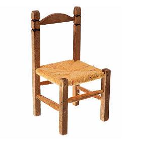 Acessórios de Casa para Presépio: Cadeira em vime e madeira para presépio 7,5x4x4 cm