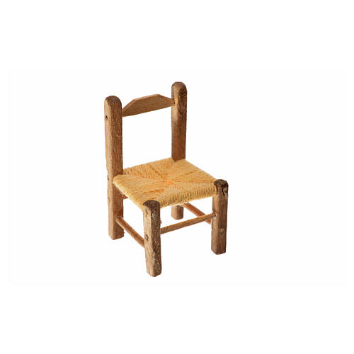 Mini chaise paillée en bois 4x2,5x2,5cm 3