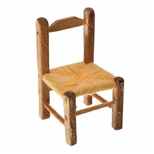 Mini chaise paillée en bois 4x2,5x2,5cm 1