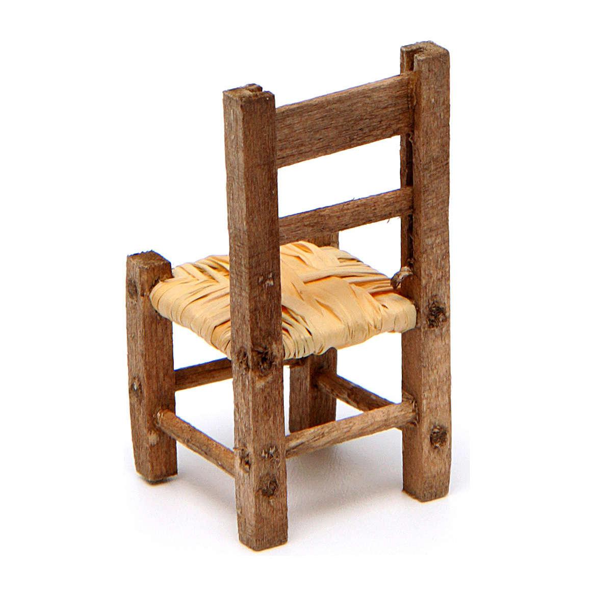 Sedia presepe impagliata in legno 3,5x2x2 cm 4