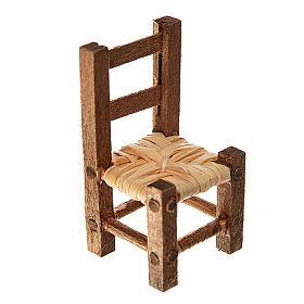 Accessoires maison en miniature: Mini chaise paillée 3,2x1,5x1,5 cm