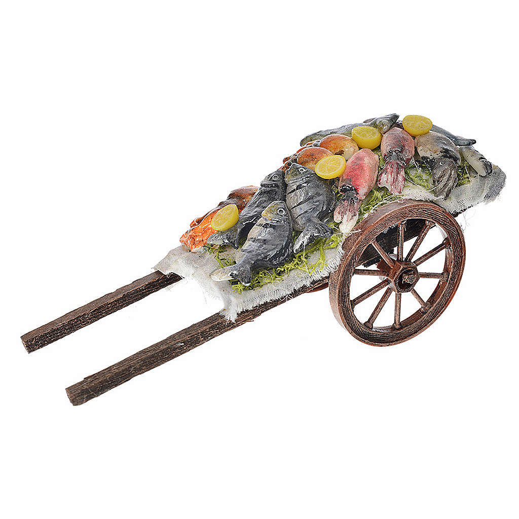 Neapolitan Nativity accessory, fish cart in wax 6x15x6cm 4