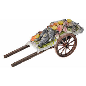 Neapolitan Nativity accessory, fish cart in wax 6x15x6cm s1