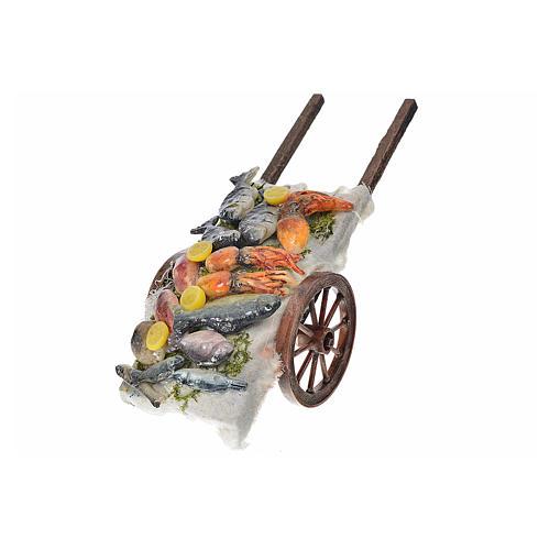 Neapolitan Nativity accessory, fish cart in wax 6x15x6cm 2