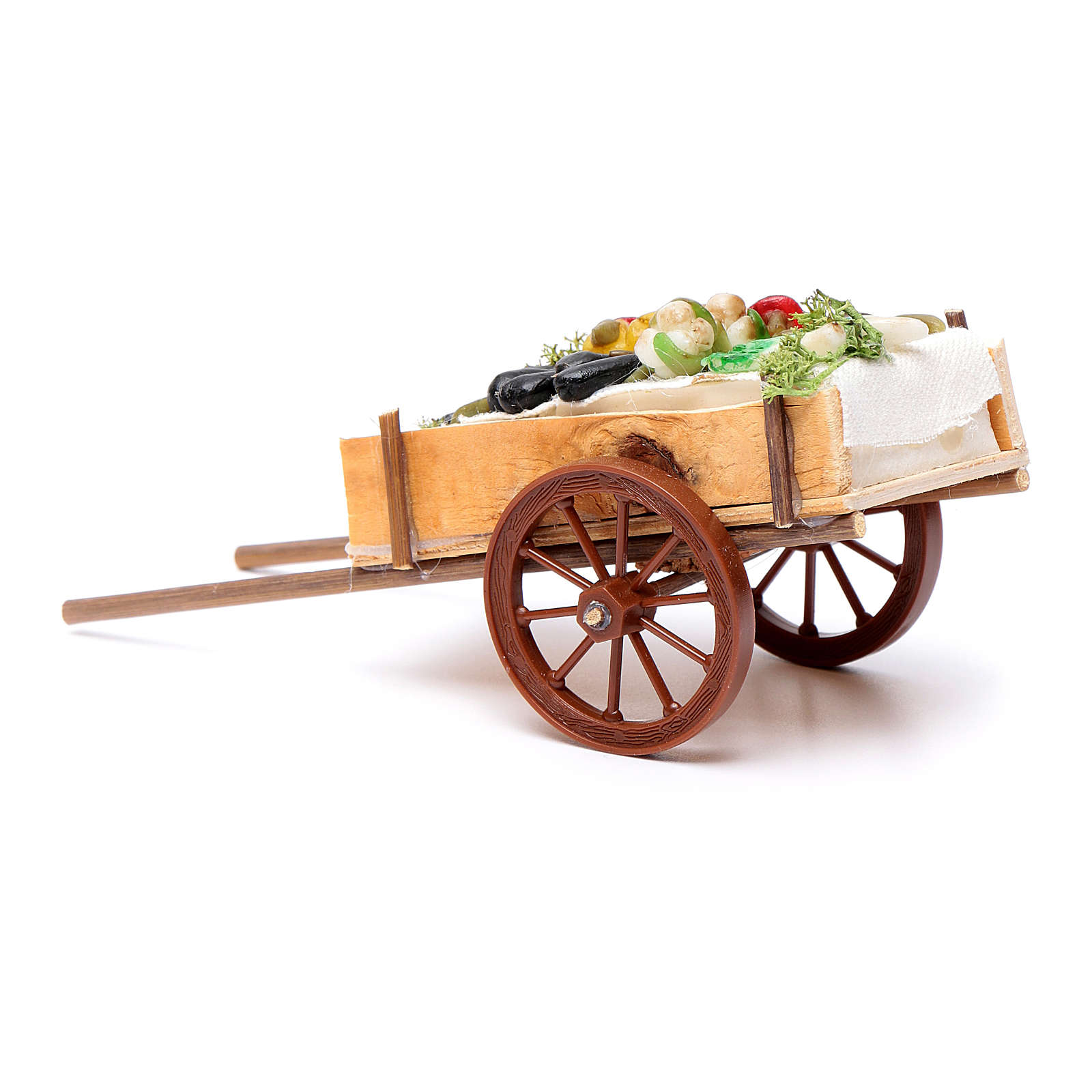 Neapolitan Nativity accessory, fruit and vegetable cart in wax 6 4