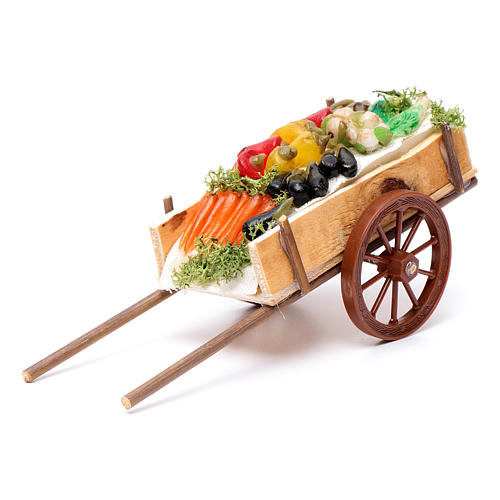 Neapolitan Nativity accessory, fruit and vegetable cart in wax 6 1