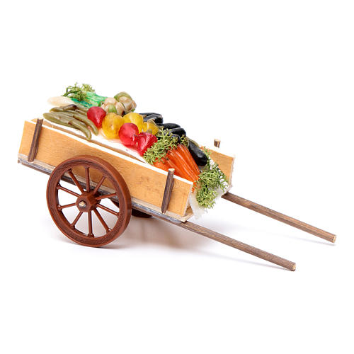 Neapolitan Nativity accessory, fruit and vegetable cart in wax 6 2