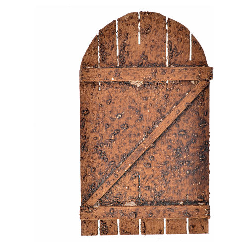 Nativity accessory, wooden arched door 12x7cm 3