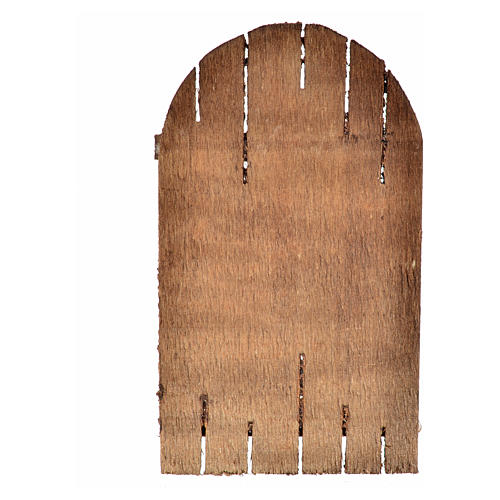 Nativity accessory, wooden arched door 12x7cm 4