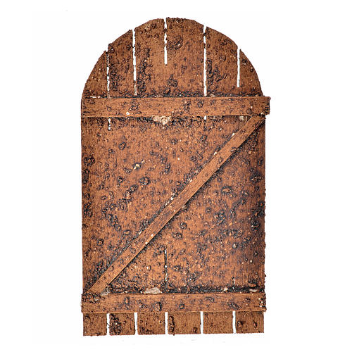 Nativity accessory, wooden arched door 12x7cm 1