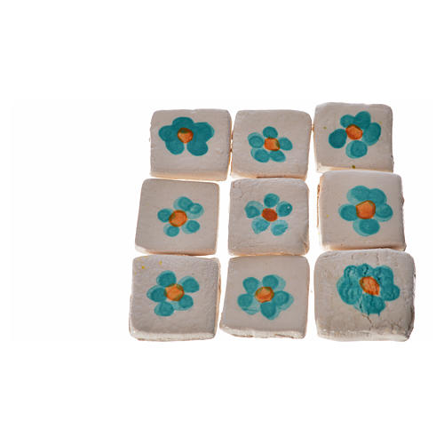 Mattonelle terracotta smaltate 60 pz fiore verde per presepe 1
