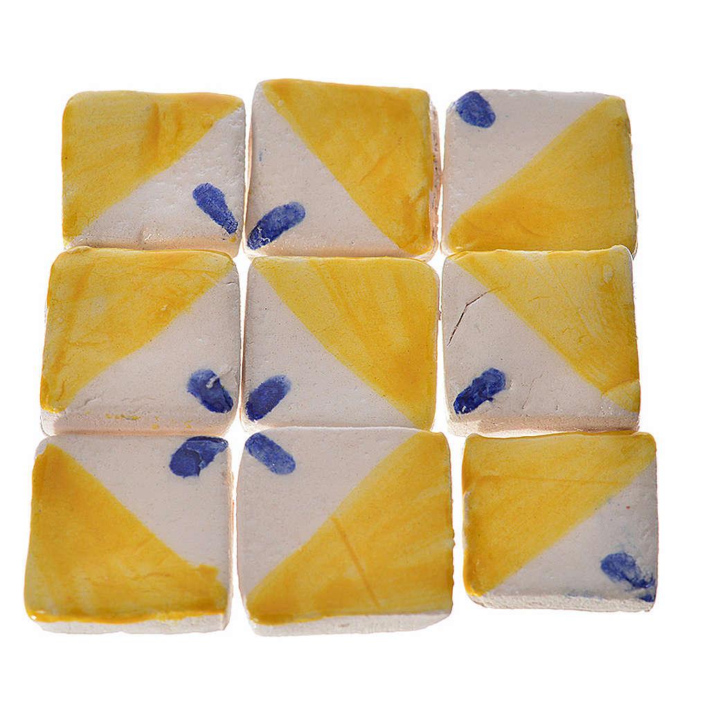 Mattonelle terracotta smaltate 60 pz giallo blu per presepe 4