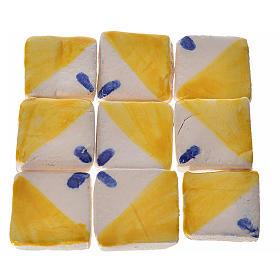 Mattonelle terracotta smaltate 60 pz giallo blu per presepe s1