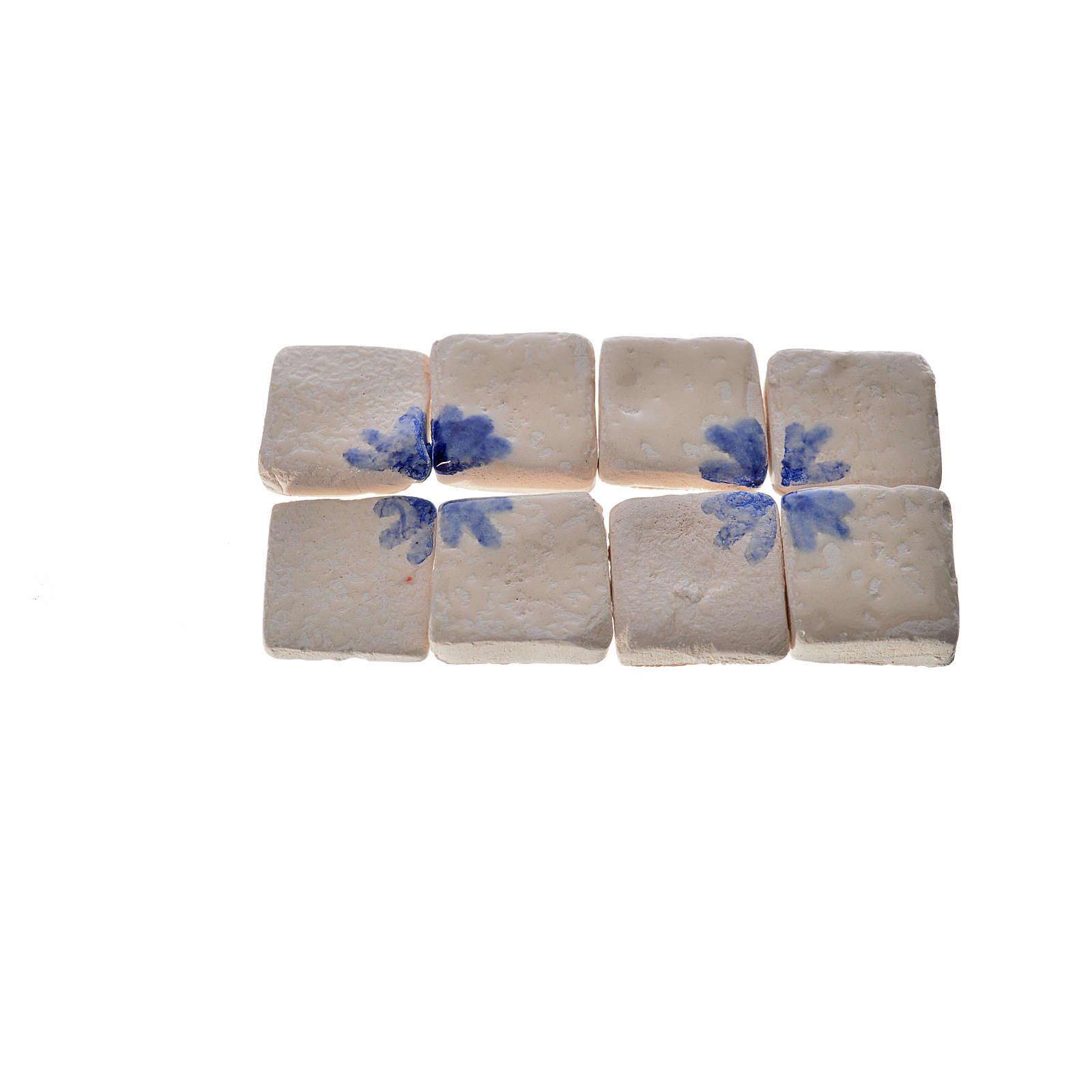 Nativity accessory, enamelled terracotta tiles, 60pcs, blue arro 4