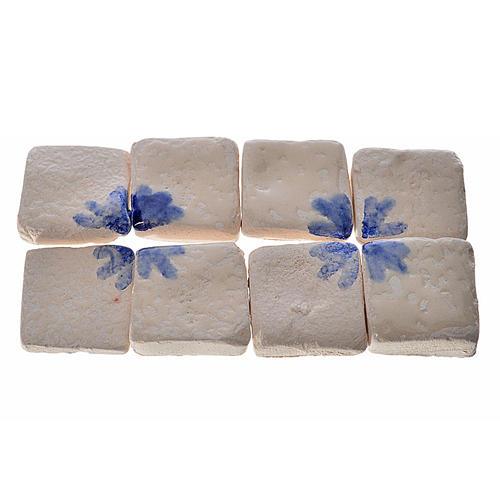 Nativity accessory, enamelled terracotta tiles, 60pcs, blue arro 1