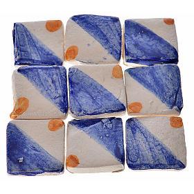 Mattonelle terracotta smaltate 60 pz blu giallo per presepe s1