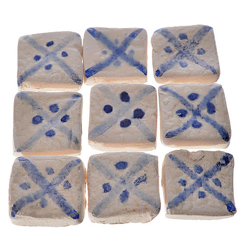 Mattonelle terracotta smaltate 60 pz righe blu per presepe 4