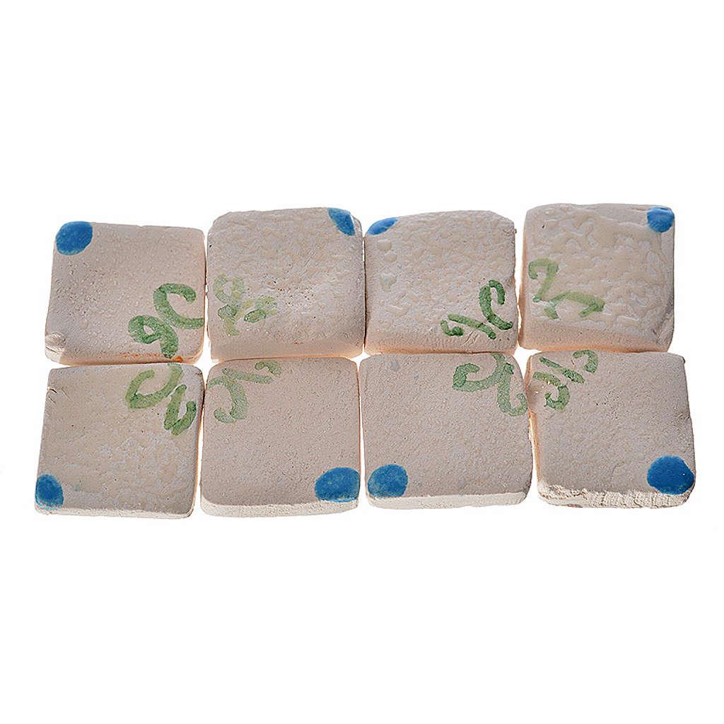 Nativity accessory, enamelled terracotta tiles, 60pcs, blue with 4