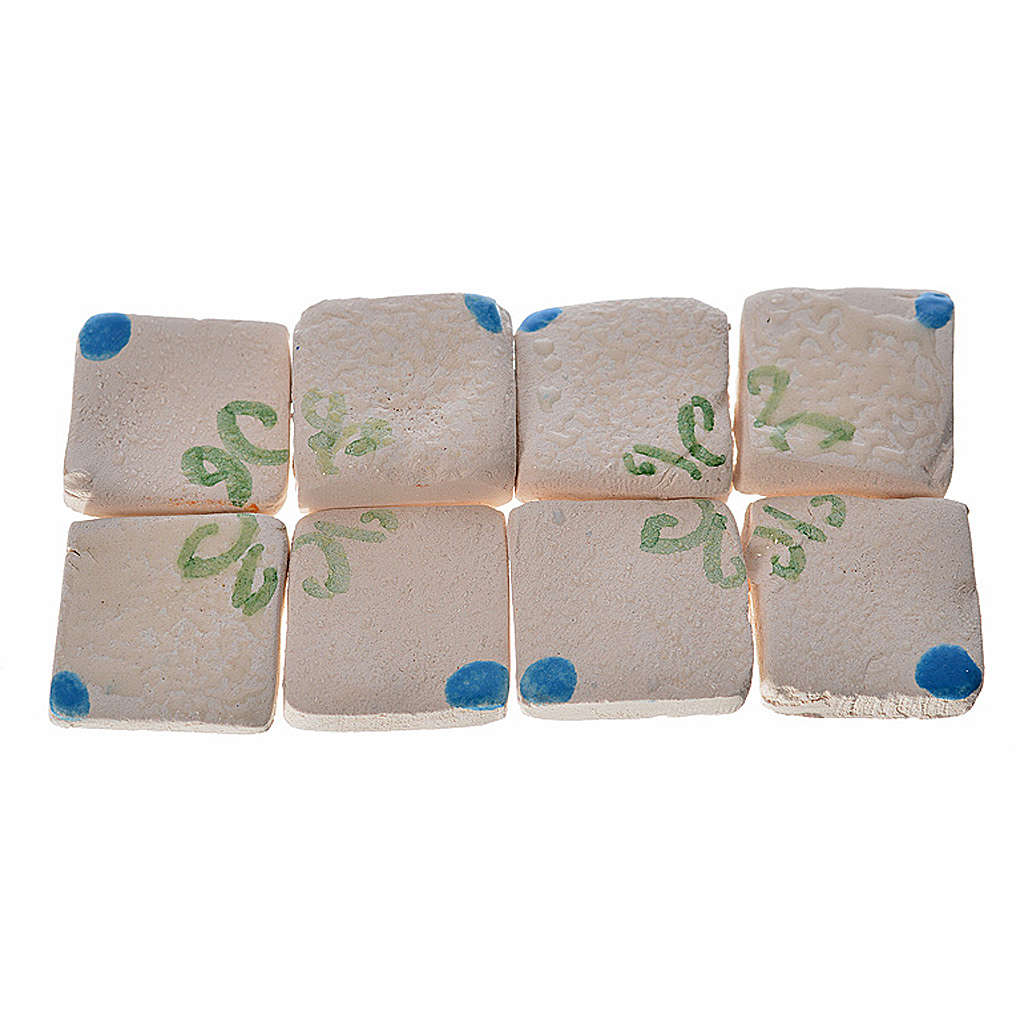 Nativity accessory, enamelled terracotta tiles, 60pcs, blue with 4