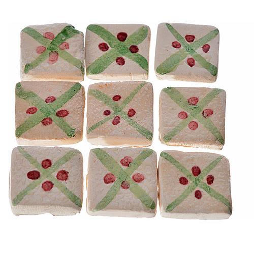 Mattonelle terracotta smaltate 60 pz righe verdi per presepe 1
