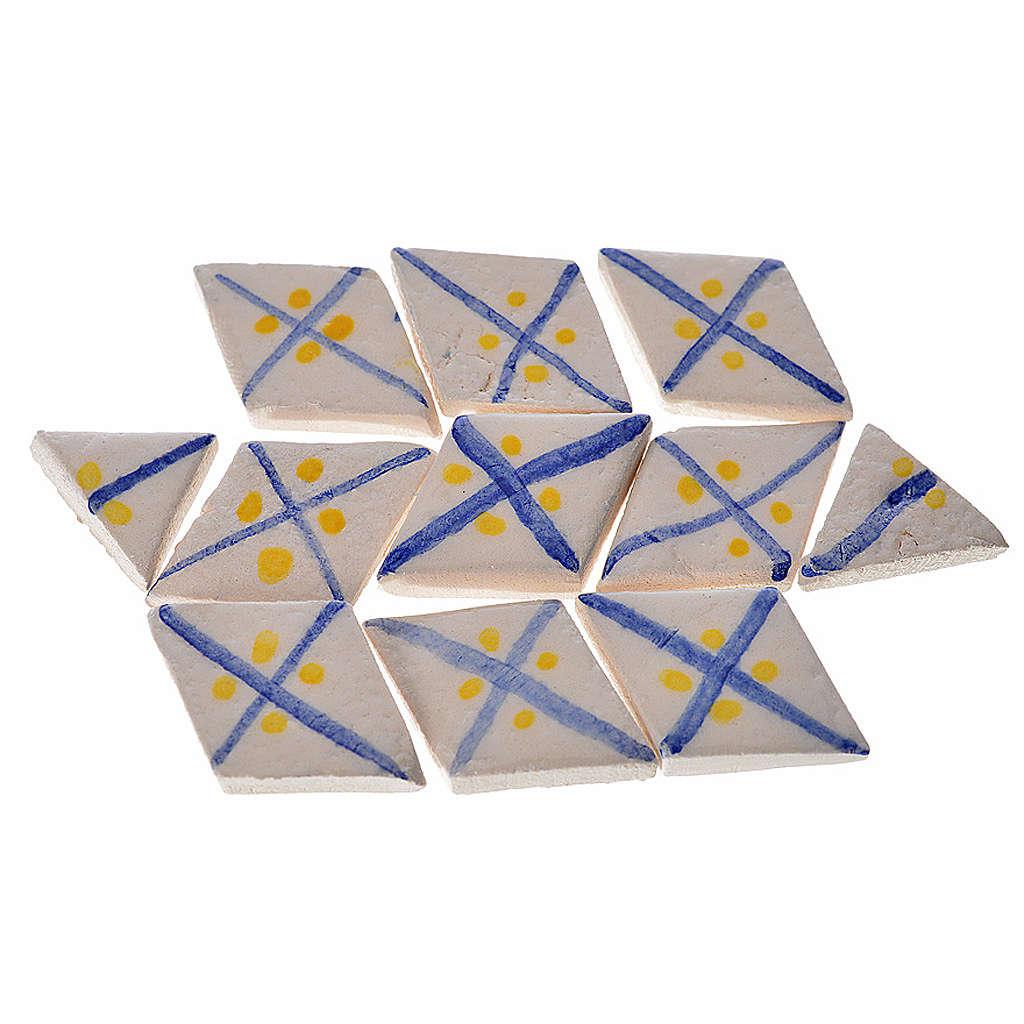 Azulejos romboidales de terracota esmaltada, lineas azul, 60pz 4