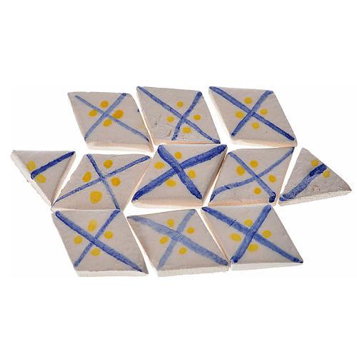 Azulejos romboidales de terracota esmaltada, lineas azul, 60pz 1