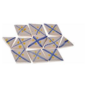 Carreaux mini en losange rayures bleu crèche 60 pcs terre cuite s2