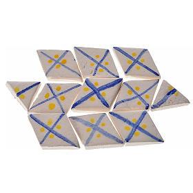 Carreaux mini en losange rayures bleu crèche 60 pcs terre cuite s1