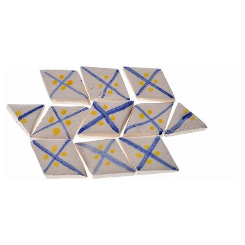 Carreaux mini en losange rayures bleu crèche 60 pcs terre cuite 2