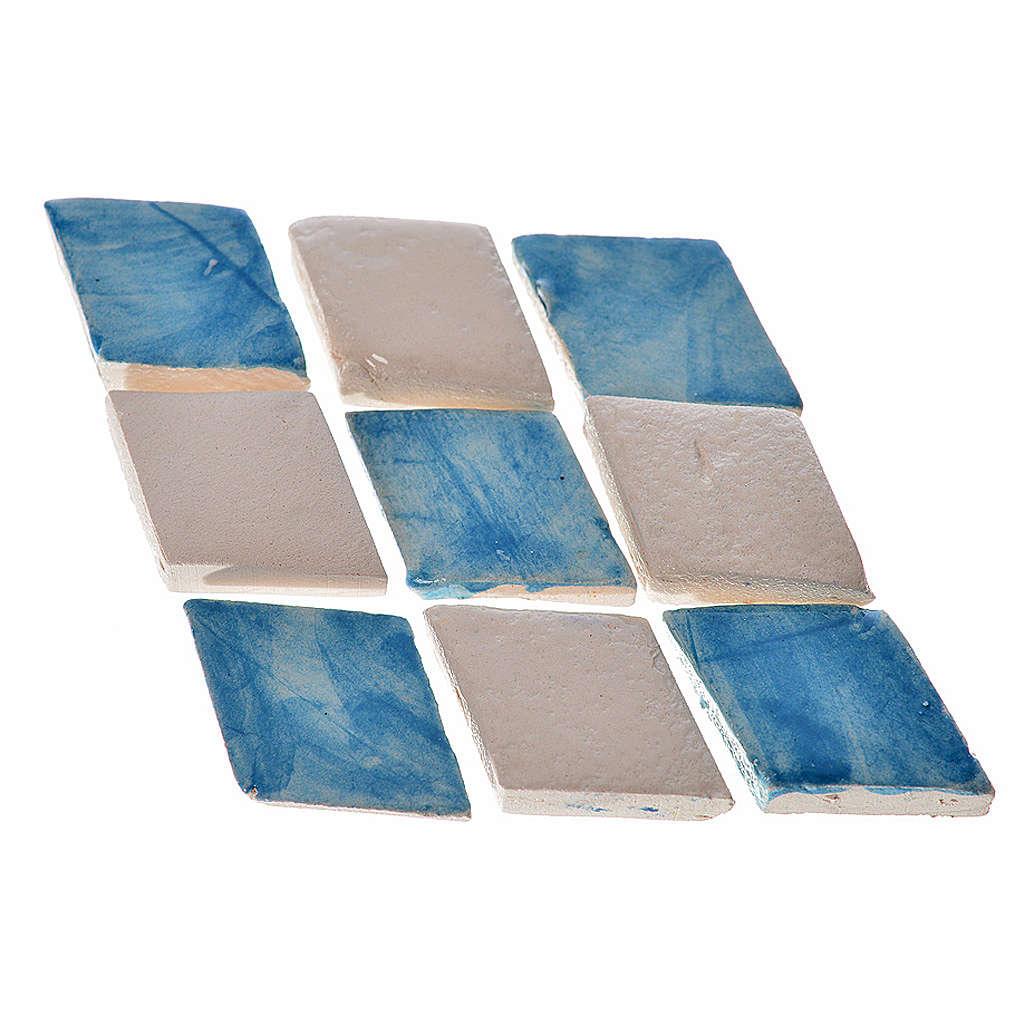 Carreaux mini en losange bleu crèche 60 pcs terre cuite 4